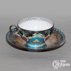 Чайная пара в русском стиле с серебрением